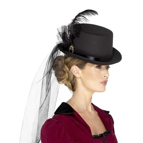 Deluxe Ladies Victorian Top Hat, with Elastic